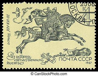 1987:, siècle, timbre, 14th-16th, -, russie, postrider,...