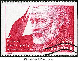 1990, ∥ころ∥, 切手, laureate, -, hemingway, 1990:, スウェーデン, 印刷される...