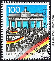 1990, apertura, estampilla, brandenburg, -, aniversario, ...