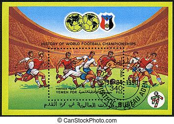 1990, jemen, briefmarke, zirka, spiel, -, pdr, fußball, 1990:, gedruckt, meisterschaften, welt, fußball, shows, geschichte