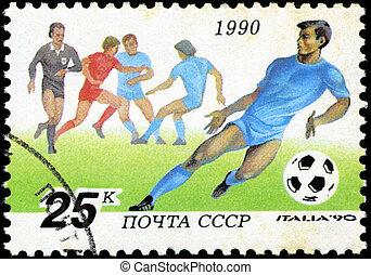 1990, players., reihe, becher, briefmarke, italien, fußball, -, 1990:, udssr, gedruckt, welt, zirka, shows