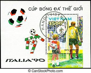 1990, players., reihe, becher, briefmarke, italien, fußball, -, 1990:, vietnam, gedruckt, welt, zirka, shows