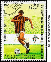 1990, zirka, becher, -, laos, welt, fußball