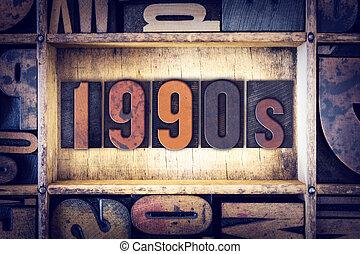 1990s, concetto, tipo, letterpress