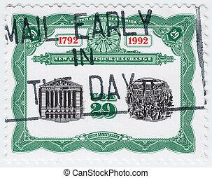 1992, estados unidos de américa, estampilla, :, -, aniversario, 200th, intercambio, york, nuevo, impreso, hacia, exposiciones, acción