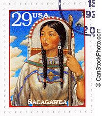 :, 1994, アメリカ, 切手, -, sacaga, 印刷される, 肖像画, ∥ころ∥