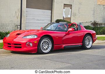 1995, autó, 1, amerikai, sport, piros