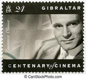 1995, timbre, (1907-1989), acteur, -, directeur, producteur, laurence, gibraltar, olivier, environ, 1995:, spectacles, imprimé