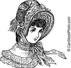 19th , πορτραίτο , καπέλο , κυρία , αιώναs