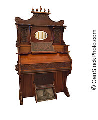 19th Century harpsichord, a small organ musical instrument isolated over white background