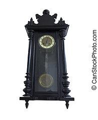 19th Century old pendulum wooden clock isolated on white