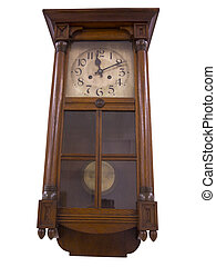 19th Century old pendulum wooden clock isolated on white