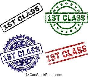 1er, timbre, classe, cachets, textured, gratté