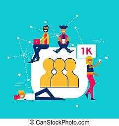 1k Followers on social media network concept
