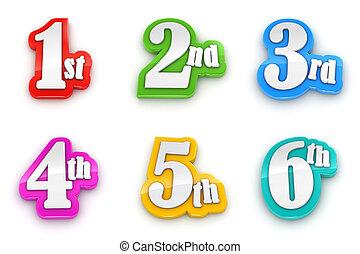 1º, 2º, 3rd, 4th, 5º, 6º, números, isolado, branco, fundo