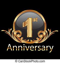 1º, celebração, aniversário, primeiro