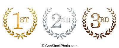 1st;, 2nd;, 3, premi, dorato, emblemi