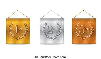 1st;, 3, ilustración, premios, banderas, 2nd;