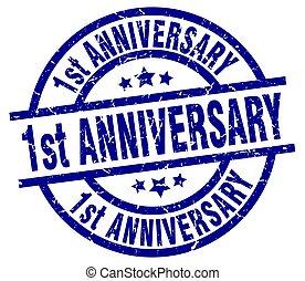 1st anniversary blue round grunge stamp