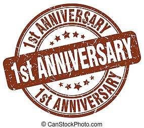 1st anniversary brown grunge stamp