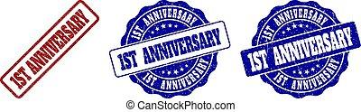 1ST ANNIVERSARY Grunge Stamp Seals