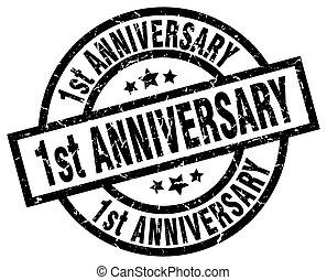 1st anniversary round grunge black stamp