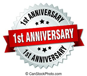 1st anniversary round isolated silver badge