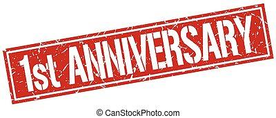 1st anniversary square grunge stamp