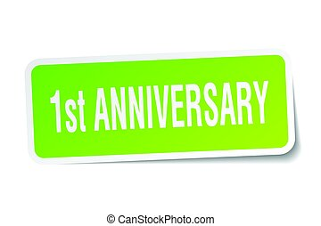 1st anniversary square sticker on white