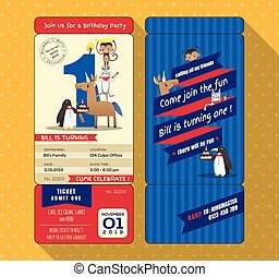 1st Birthday card with Ticket Boarding pass style