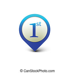 1st design - vector number 1st icon design with isolated on...