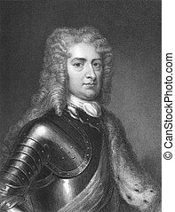 1st Duke of Marlborough, John Churchill (1650-1722) on engraving from the 1800s. Prominent English soldier and statesman . Engraved by J. Pofselwhite and published in London by Charles Knight Ludgate Street.