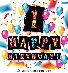 1st, jaar, verjaardag viering, ontwerp