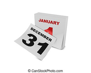 1st January - 3d rendering, conceptual new year, isolated on...