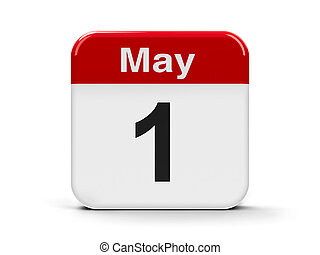1st May - Calendar web button - First of May,...