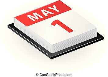 1st May Isometric Calendar Icon - 1st May - Labour Day....