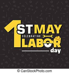 1st May Labor Day Wrench Background Vector Image