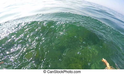 1st person POV of swimmer in sea water swimming frog style