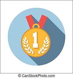 1st place medal flat icon