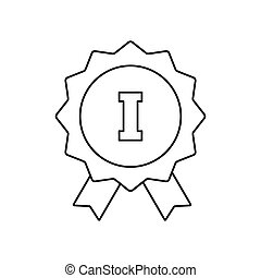 1st place ribbon line icon