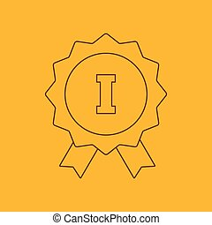 1st place ribbon line icon