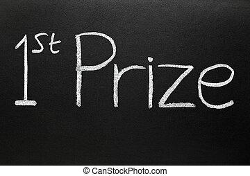 1st prize written on a blackboard.