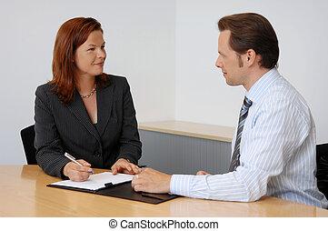2人の人々, 持つこと, a, ビジネスが会合する