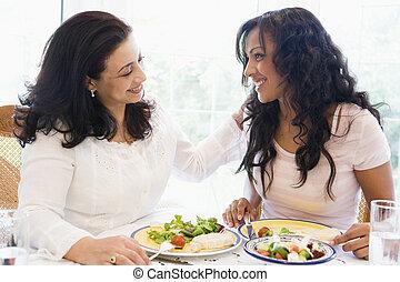 2人の女性たち, モデル, ∥において∥, ディナーテーブル, 微笑, (high, key)