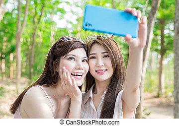 2人の女性たち, selfie, 幸福に, 美しさ