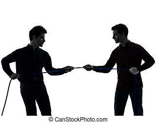 2人の男性たち, twin, 兄弟, 友人, 争奪戦, シルエット