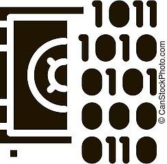 2進, コンピュータ, glyph, コード, イラスト, ハッキング, アイコン, ベクトル