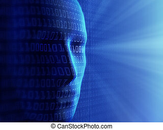 2進, cyber-business, 人間, (detailed, /, 概念, background-, 人工知能,...