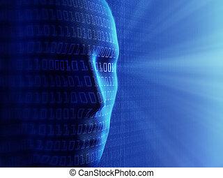 2進, cyber-business, 人間, (detailed, /, 概念, background-, 人工知能, 小さい, code), millions