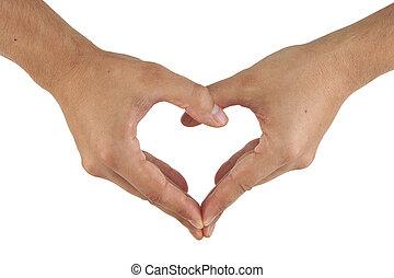 2개의 손, 만들다, 심혼 모양